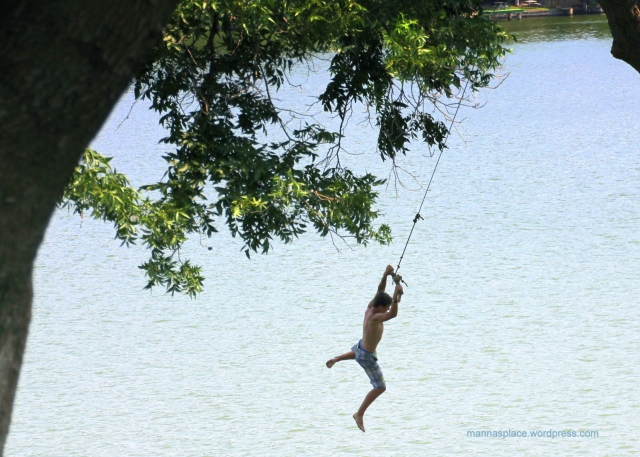 Clenched Teeth or Refreshment Boy swinging over lake
